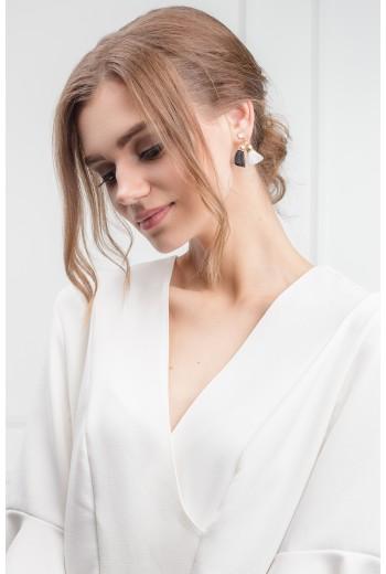 Monochrome fringe earrings