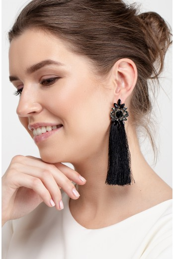 Black flower tassel earrings