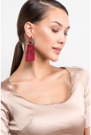 Burgundy flower tassel earrings