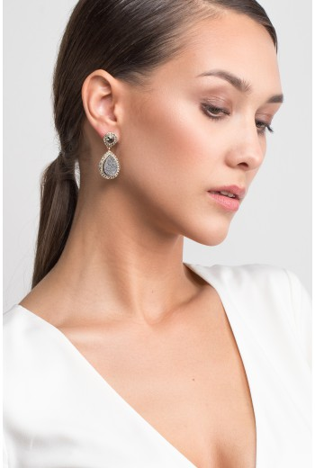 Crystal accent drop earrings