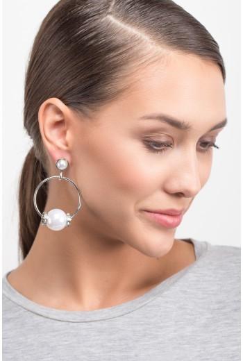Pearl hoop silver earrings