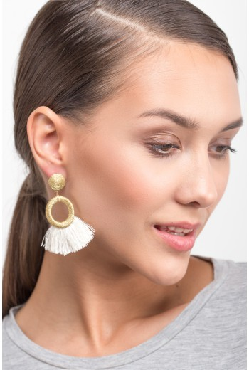 Hoop tassel fringe earrings