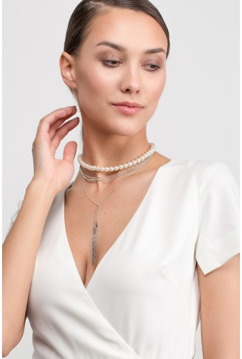 Pearl tassel leyared necklace