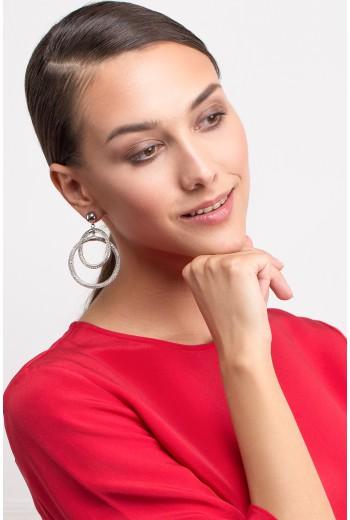 Silver multi layered earrings