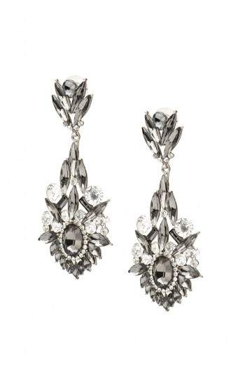 Black and silver leaf statement earrings