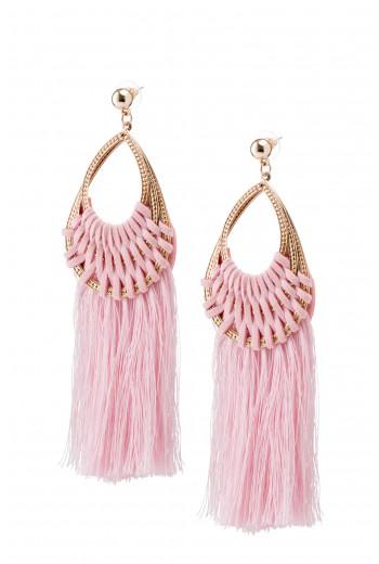 Pink woven fringe earrings