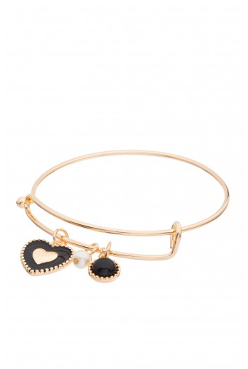 Black heart pendant bracelet