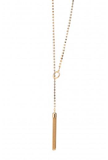Crystal lined tassle necklace