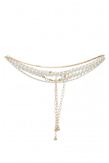 Chain pearl choker