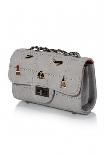 Grey appliqued handbag