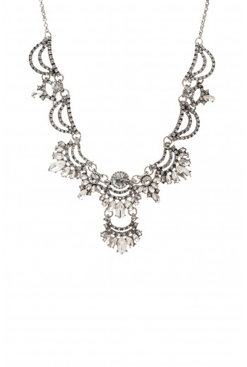 Antique silver crystal necklace