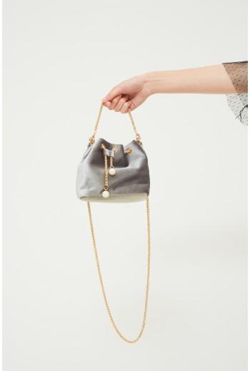 Grey velvet mini bag