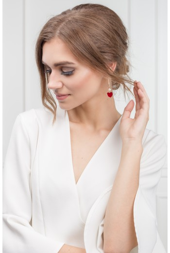 Red heart and pearl earrings