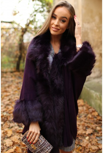 Violet cape coat with fur