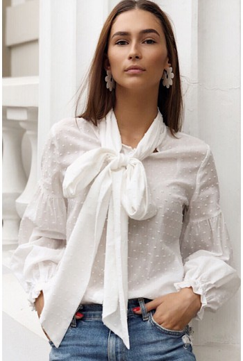 White blouse with tie neck
