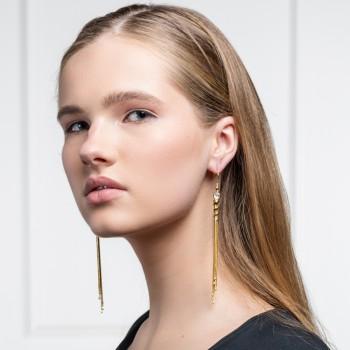 Gold metal tassel earrings