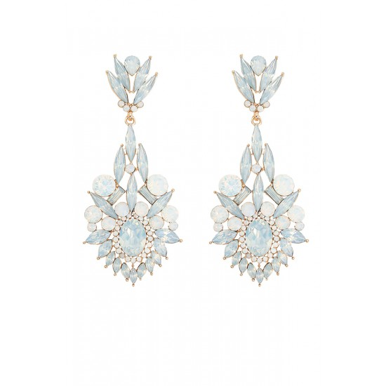 Pearl leaf statement earrings