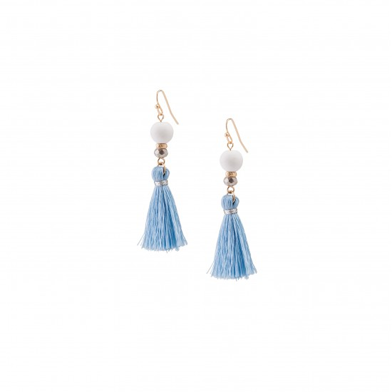 Sky blue fringe earrings