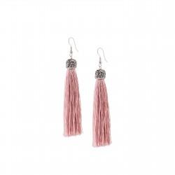 Glossy pink fringe earrings