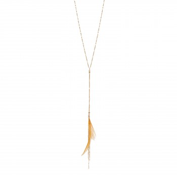 Golden necklace with brown feather