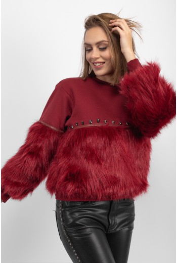 Faux fur detail jumper in burgundy