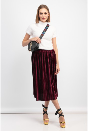Burgundy velvet pleated skirt